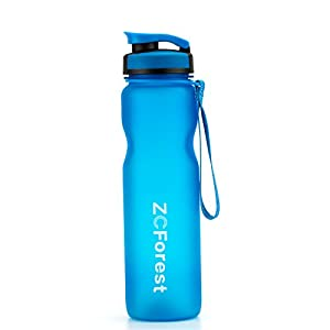 ZCForest Sport Bottle 36oz/1000ml High Capacity Water Bottle,Tritan and BPA-Free Cups with Leakproof Wide Mouth Filter (Blue)