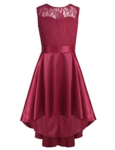 CHICTRY Kids Girl's High-Low Hem Princess V Back Lace Wedding Pageant Party Flower Girl Dress Burgundy 14]()
