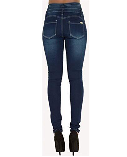 Skinny Blau PochesDécontracté En Denim CrayonHauteFemmesCasual Dame Slim Haute Pour Des Pantalon Taille Avec tQrdshC