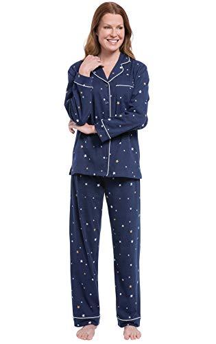 PajamaGram Womens Pajamas Sets Cotton - Long Sleeve Pajamas, Navy Star, L, 14-16