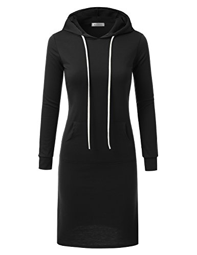 Doublju Womens Long Sleeve Hoodie Midi Dress (Made In USA) BLACK 2XL