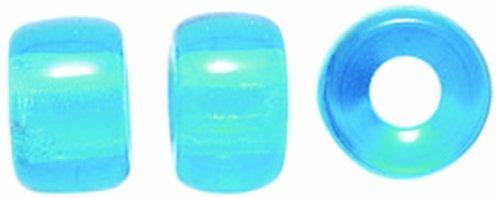 9mm Roller Bead - Preciosa Ornela Traditional Czech Glass Crow Roller Beads, 9mm, Transparent Medium Aqua, 30-Pack