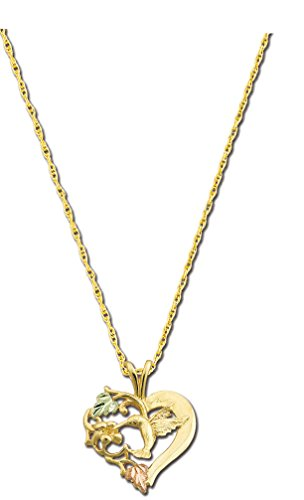 10K Black Hills Gold Hummingbird Pendant with 12K Leaves