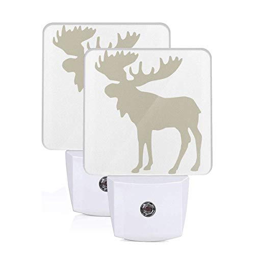 GHWEAQu Moose Buffalo Fashion Plug-in Night Light, Warm White LED Nightlight, Dusk-to-Dawn Sensor Energy Efficient