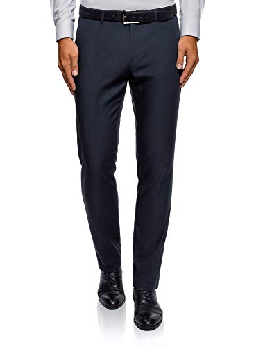 oodji Ultra Men's Classic Slim-Fit Trousers, Blue, for sale  Delivered anywhere in Canada