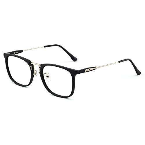 2002 Square - OCCI CHIARI Mens Rectangular/Square Fashion Acetate Eyewear Frame with Clear Lens (2002 -Black/silver(Anti-Blue light))