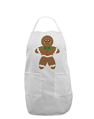 Cute Gingerbread Man Christmas Adult Apron - White - One-Size