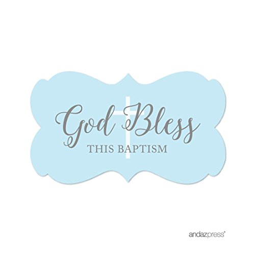Andaz Press Baby Blue and Gray Boy Baptism Collection, Fancy Frame Label Stickers, God Bless This Baptism, 36-Pack