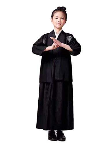 SSJ:Hakama [ Kimono for Boy ] Japanese Traditional Kids Costume Child (59.0inch-150, Black)