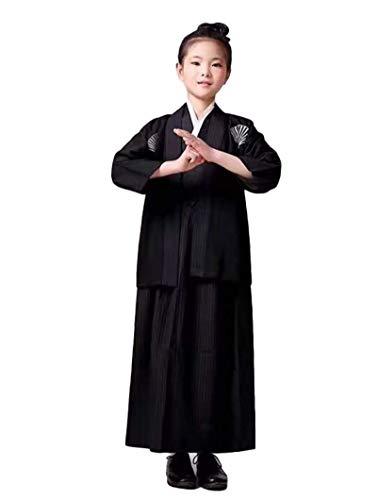 SSJ:Hakama [ Kimono for Boy ] Japanese Traditional Kids Costume Child (55.1inch-140, Black)