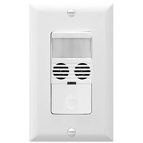 Enerlites MWOS-W Motion Sensor Switch, Ultrasonic and PIR Dual Technology, Occupancy Sensor, Motion Sensor Light Switch, NEUTRAL WIRE REQUIRED, Wall Plate Included, White (Dual Technology Motion Detector)