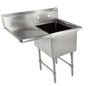 John Boos B Series Stainless Steel Sink, 14'' Deep Bowl, 1 Compartment, 24'' Left Hand Side Drainboard, 46'' Length x 29-1/2'' Width