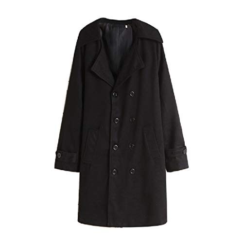 BOBOYU Mens Wool Blend Slim Classic Overcoat Double-Breasted Long Trench Coat