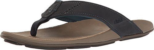 OLUKAI New Men's NUI Flip Flop Trench Blue/Clay - Open Embroidered Thong