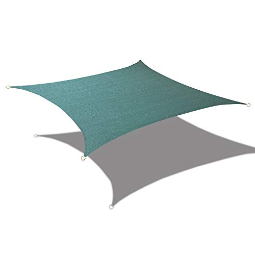 Alion Home 8' x 12' Waterproof Woven Sun Shade Sail in Vibrant Colors (8 ft x 12 ft Retangle) (Forest Green) ()