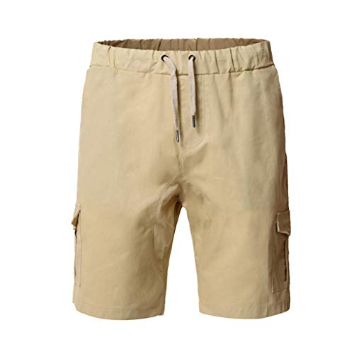 (Ninasill Hot!Men's Solid Color Outdoor Tooling Shorts Tethered Multi-Pocket Sports Shorts Large Size Casual Beach Shorts Khaki)