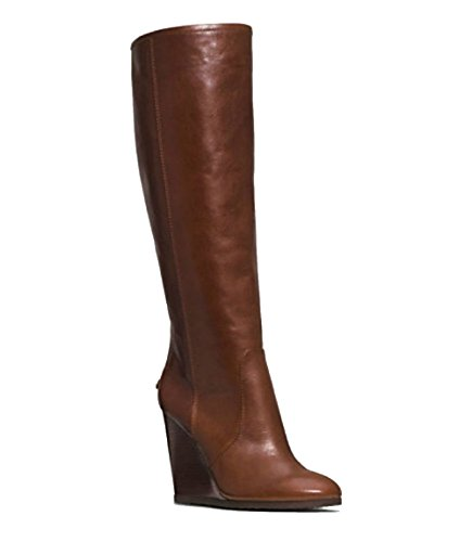 COACH Della CALF Knee-High Wedge Boot Womens LEATHER SHOES CHESTNUT (9) 4hlSvS0qI