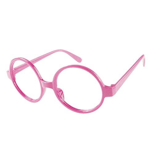 M-Egal Classic Fancy Round Frame Party Dress Big Nerd Eyeglasses Glasses Frame No Lens Pink Eyes - Nerd Big Glasses Frame