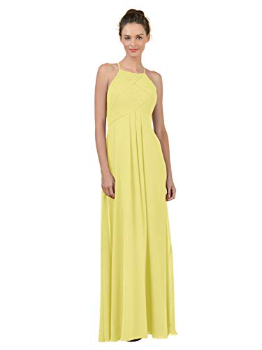 Alicepub Long Chiffon Plus Size Bridesmaid Dress Maxi Evening Gown A Line Plus Party Dress, Yellow, US6