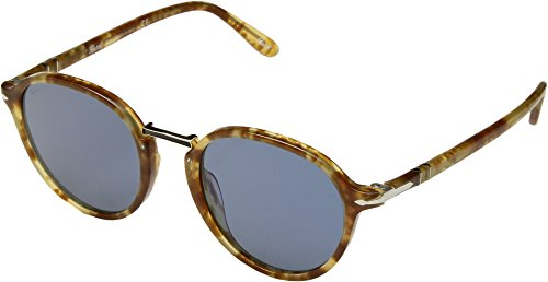 Persol  Men's 0PO3184S Brown Spotted Beige/Light Blue One - Sunglasses Persol Keyhole