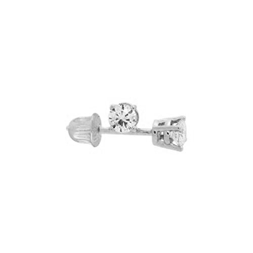 Tiny 14k Gold Round 2mm CZ Solitaire Stud Screwback Earrings, Cartilage or Second Hole Piercing - Earrings Second Piercing Studs