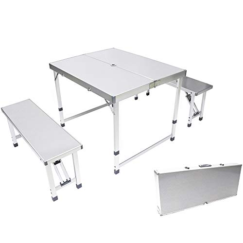 AceLife Folding Table Portable Aluminum Outdoor Compact Patio Camping Picnic Table Set with 2 Benches