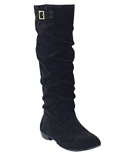 Minetom Women Autumn Winter Suede Flat Shoes Boots Stylish Slouchy Scrunch Knee High Flat Boots Black