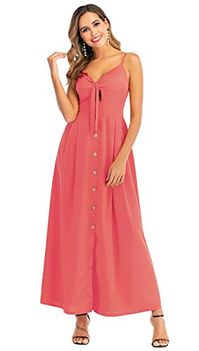 New Feeling Bowknot Dresses for Women, Spaghetti Strap Button Down Ankle Length Long Maxi Backless Dress (Rose Red, X-Large)