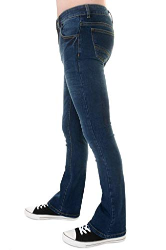 Run & Fly Mens 60s 70s Vintage Distress Blue Stonewash Stretch Denim Slim Bootcut Jeans 30 -
