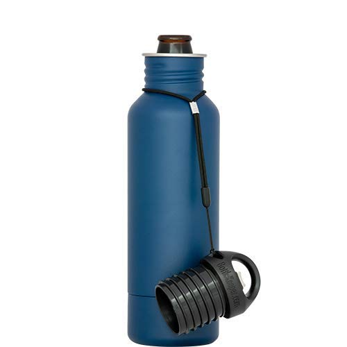 BottleKeeper - The Standard 2.0 Beer Bottle Insulator - Cap with Built in Beer Opener and Tether - Fits & Protects Standard 12oz Bottles - Insulated Beer Bottle Holder - Blue