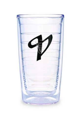 (Tervis Tumbler Black Laser Twill Initial - V 16-Ounce Double Wall Insulated Tumbler Set of 4)