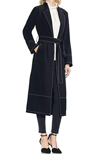 VINCE CAMUTO Womens Small Petite Belted Trench Coat Black PS