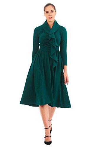 Ruffle Front Cotton Dress - 2
