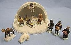 Alaska Eskimo Angel Nativity Mini Igloo Set 13 Piece