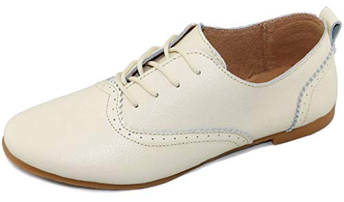 lacci pelle con Fangsto in Women's Wingtips biancaneve Brogue vera ww60Sq