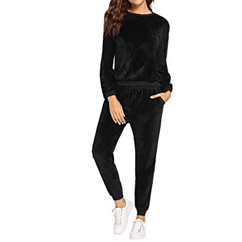 LISTHA 2 Piece Outfits Women Woolen Long Sleeveless Tops Warm Jumper Pants Sets ()