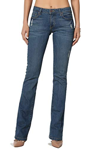 (TheMogan Women's Washed Stretch Denim 32 Mid Rise Slim Boot Cut Jeans Medium 11)
