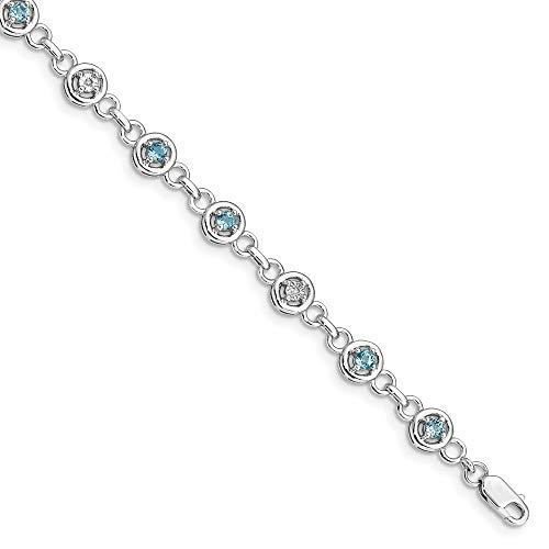 Diamond Wave Beads - 925 Sterling Silver Blue Topaz Diamond Bracelet 7 Inch Gemstone Fine Jewelry Gifts For Women For Her