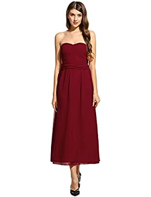HOTOUCH Women's Maxi Evening Dress for Party Wedding bridesmaid dresses Solid Chiffon