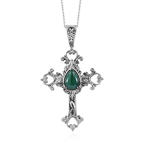 Chain Cross Pendant Necklace Steel and White Stainless Steel Pear Malachite Gift Jewelry for Women Size 20