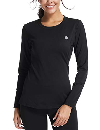FitsT4 Women's Winter Mid-Weight Thermal Fleeced Lined Base Layer Shirt Long Sleeve Crew Neck Top Black