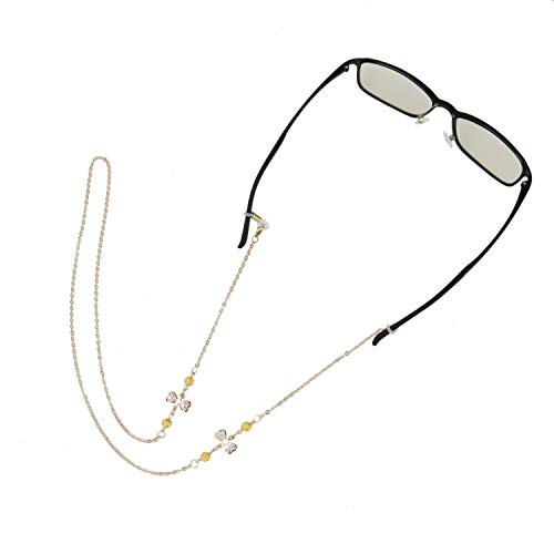 (HUELE 2Pieces Eyewear Lanyard Cross Glasses Cord Beaded Glasses Chain Pearl Eyeglass Necklace Chains for)