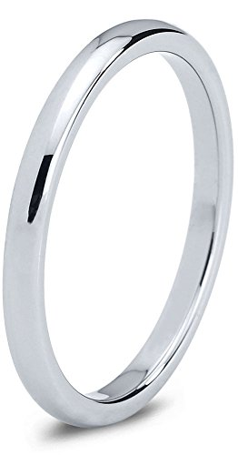 Grey Dome Ring - Charming Jewelers Tungsten Wedding Band Ring Grey 2mm Men Women Comfort Fit Dome Polished Size 12