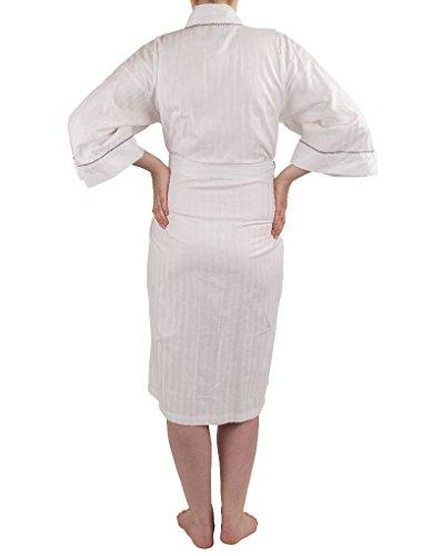 NSW Lounge Spa Kimono à Manches 3/4 en coton - Blanc 3543S