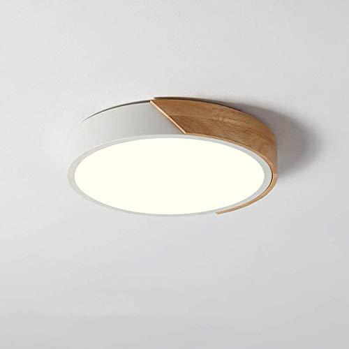 NOVO Light Ceiling Light Dimmable 11inch Modern Minimalist LED Round Shaped Wood & Metal & Acrylic Flush Mount Ceiling Light White