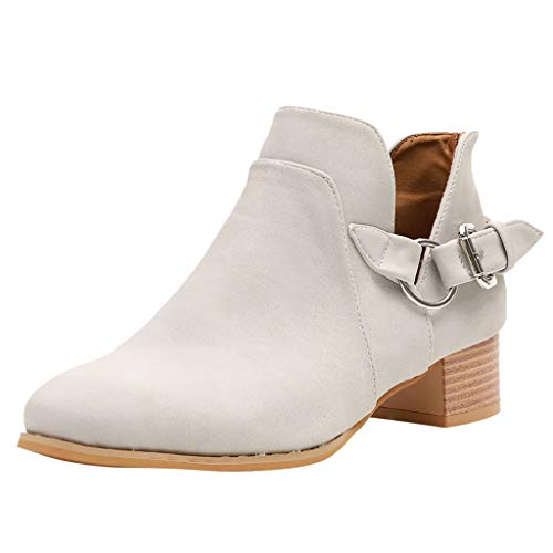 Ankle Boots for Women Slip On Loafers Pointed Toe Block Low Heel Office Dress Casual Shoes Cutout Booties Yamally Gray