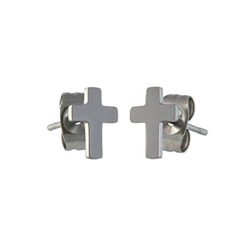 Earrings Latin 8mm Steel Urban Stainless pair Male Stud Cross qYqBt1c