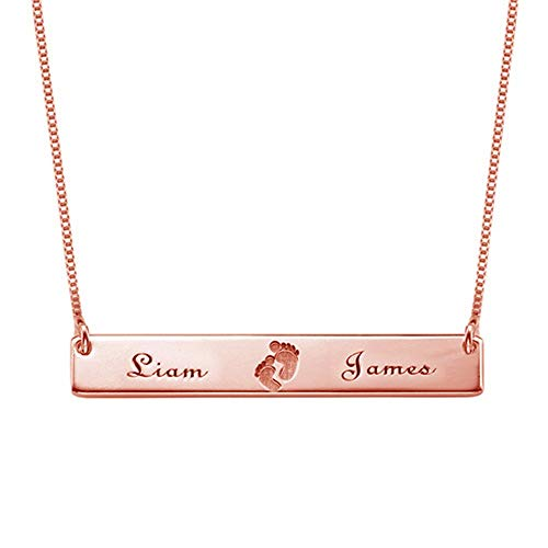 DXYAN Personalised Name Necklace Custom Baby Necklace Pendant Footprint Bar Necklace with Engraving(Golden|22.0 inches)