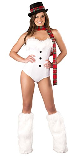 [Sexy Faux Fur Snow Girl Vintage Romper - White/Red - Medium/Large] (Holiday Pin Up Costumes)