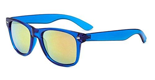 Sunglasses Classic 80's Vintage Style Design (Blue, Flash (Neon Blue Sunglasses)